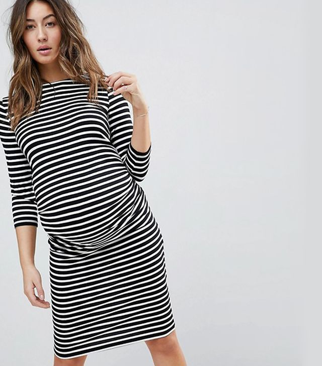 Stripe Ruched Side 3/4 Length Sleeve Dress