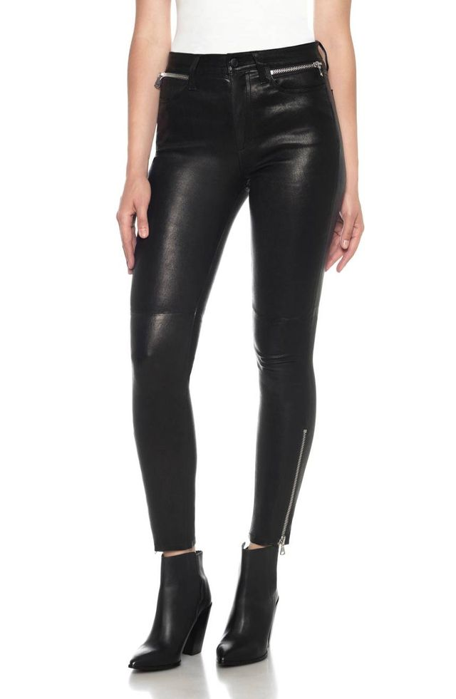 Charlie Lambskin Leather Ankle Skinny Pants
