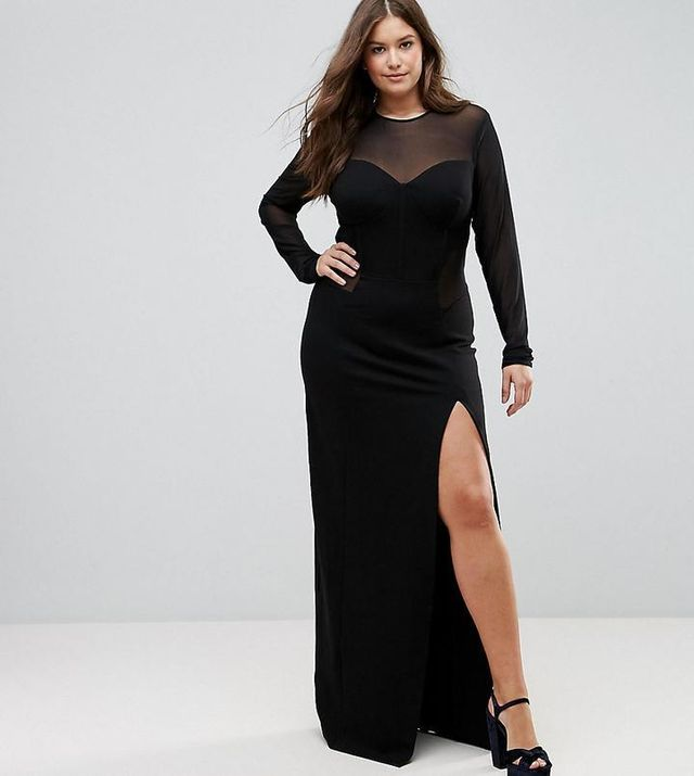 TTYA BLACK Plus Corset Mesh Insert Maxi Bodycon Dress