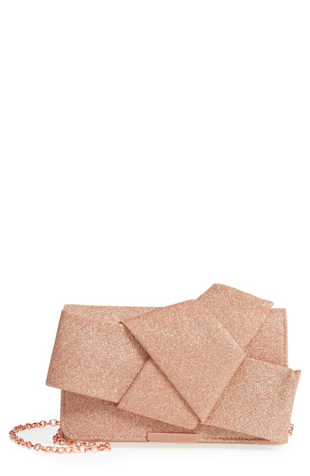 Fefee Glitter Knotted Bow Clutch -