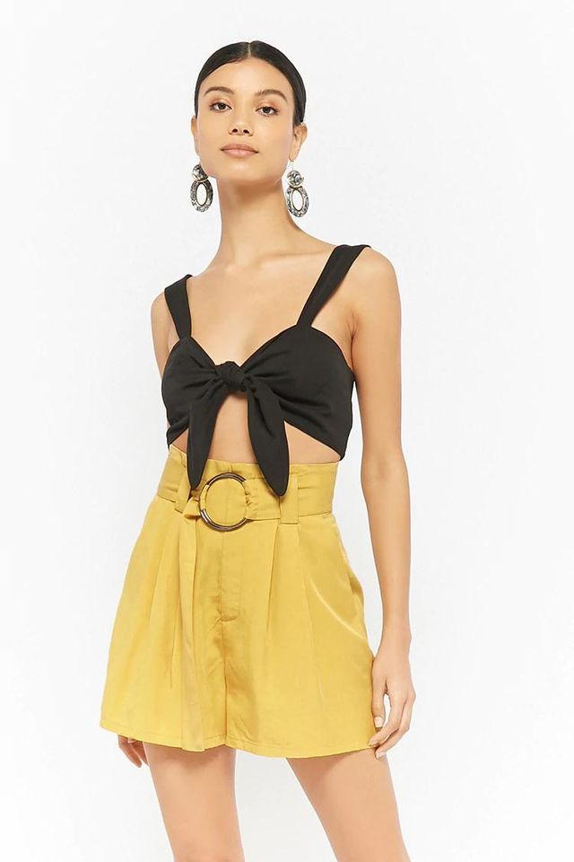 Belted Paperbag-Waist Shorts