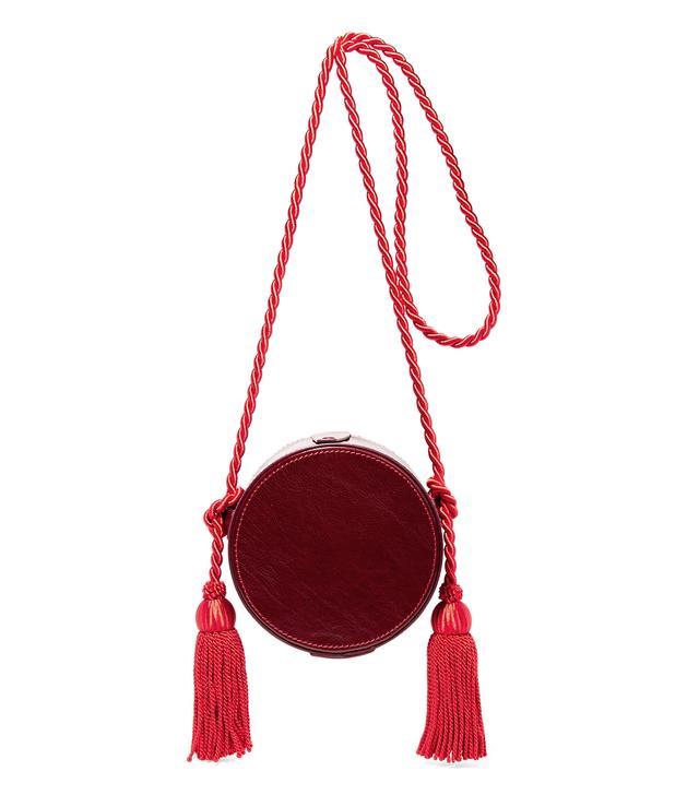 Tasseled Collarbox Glossed-leather Shoulder Bag