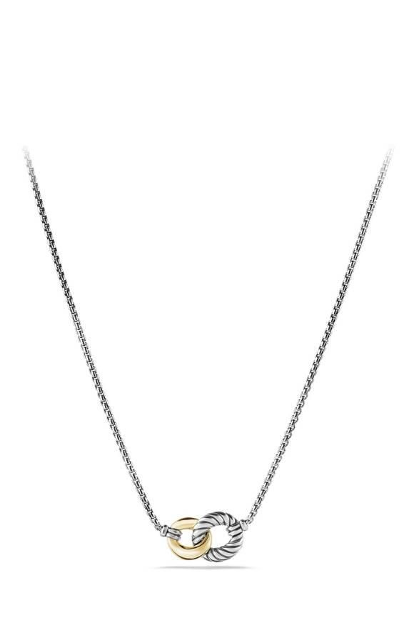 'Belmont' Curb Link Necklace with 18K Gold