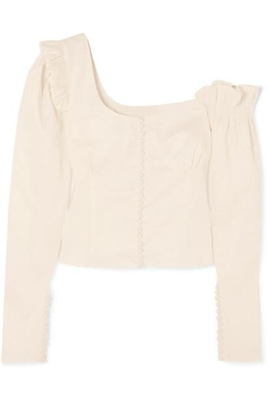 Vannes Off-the-shoulder Ruffle-trimmed Linen-blend Top