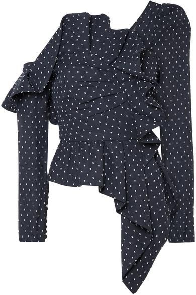One-shoulder Ruffled Swiss-dot Chiffon Top