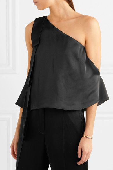One-shoulder Satin Top