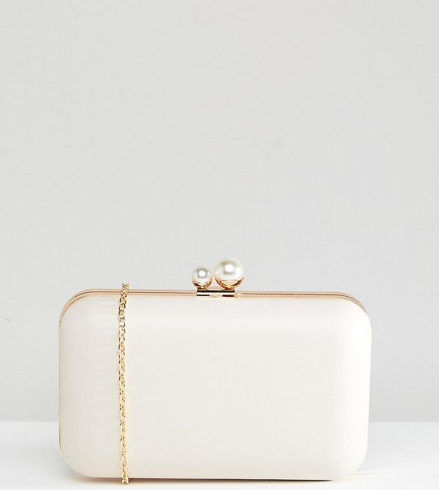 Box Clutch Bag With Pearl Fastening