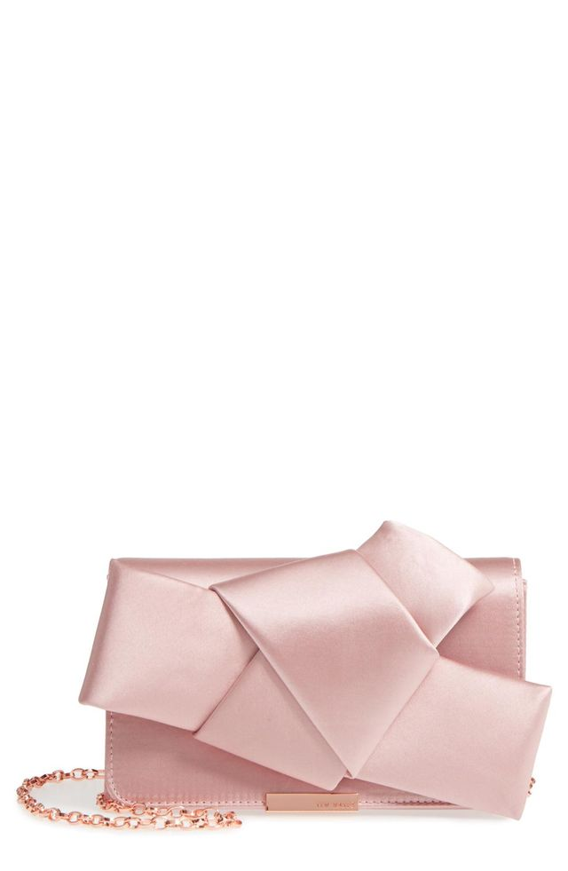 Fefee Satin Knotted Bow Clutch - Black