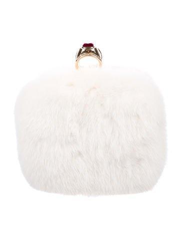 Crystal-Embellished Mink Evening Bag