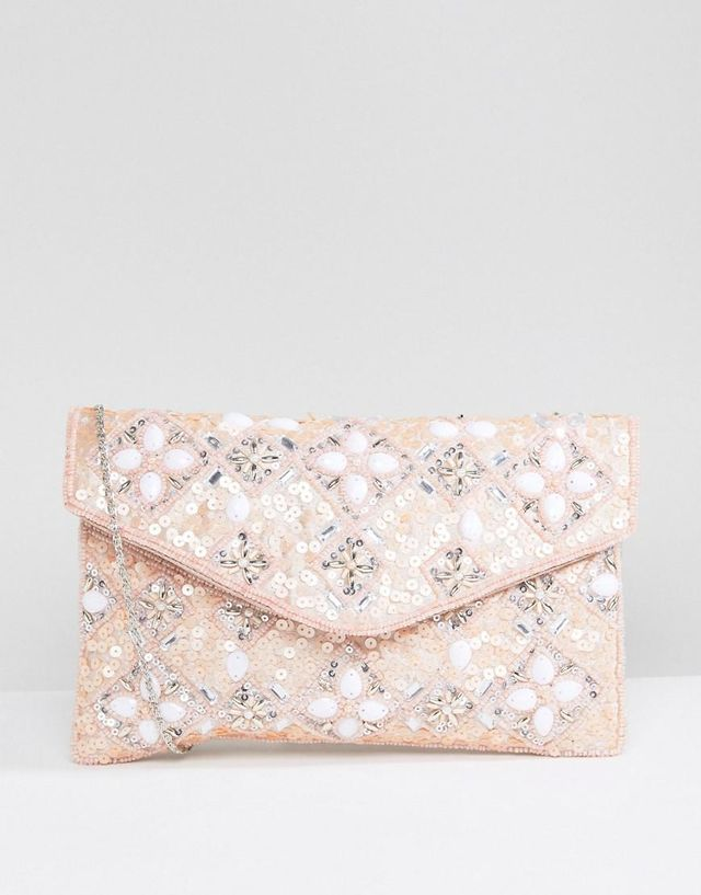 Enevelope Beaded Clutch Bag