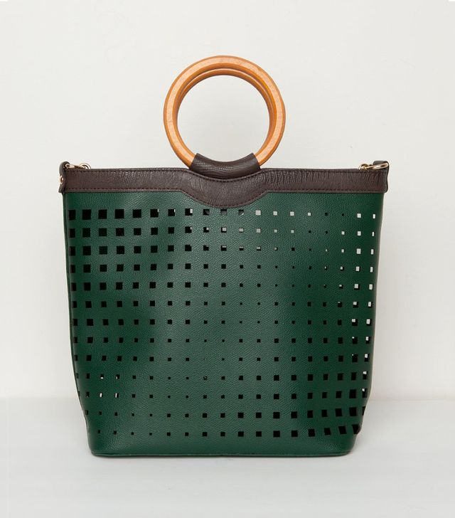 Frankie Green Cut Out Ring Handle Bag