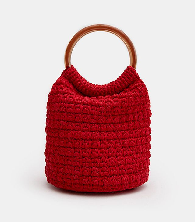 Rachel Comey Praia Hand Crochet Bucket in Red