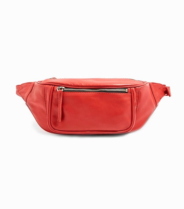 Topshop Madison Red Leather Bumbag