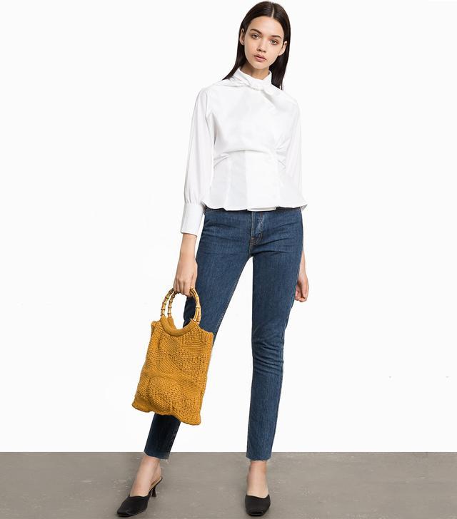 Pixie Market Now Scarf Neck Tie White Shirt