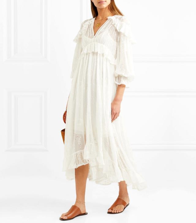 Lovelorn Ruffled Broderie Anglaise Silk-georgette Midi Dress