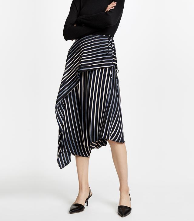 Draped Asymmetric Midi Skirt
