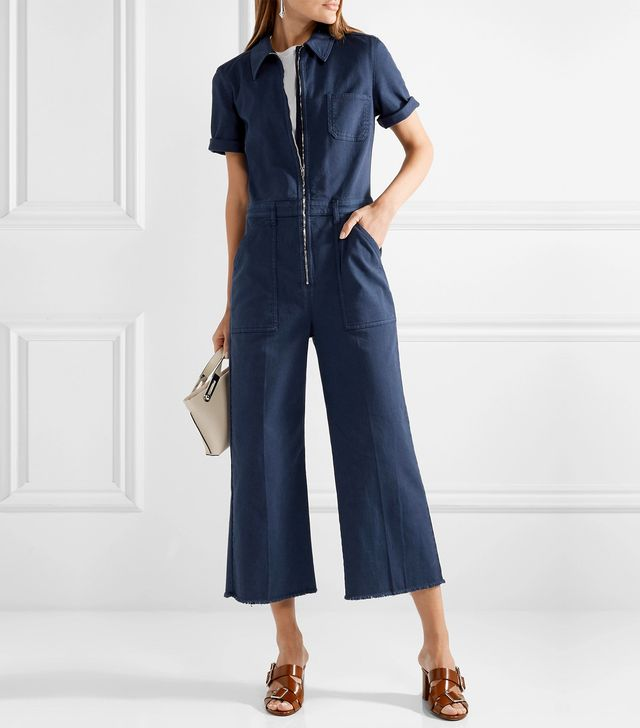 Cropped Cotton-blend Twill Jumpsuit