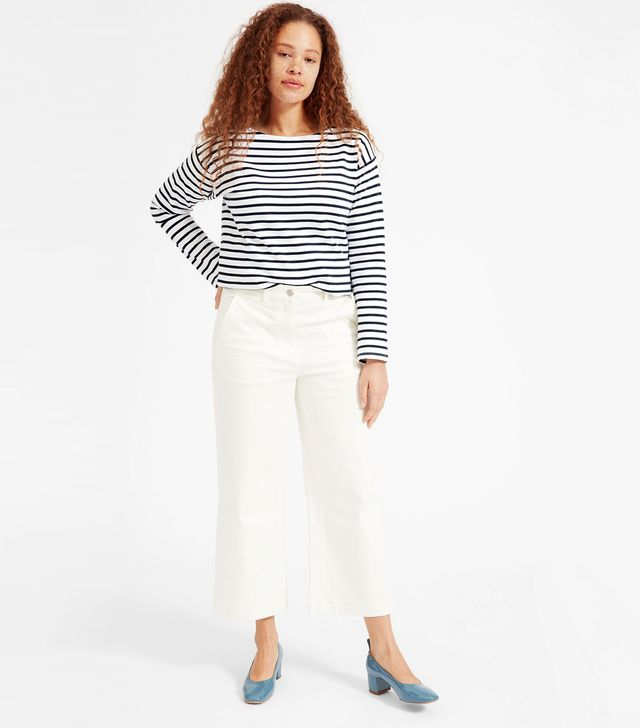 Women's Heavyweight Tee Sweater by Everlane in White / Navy, Size L