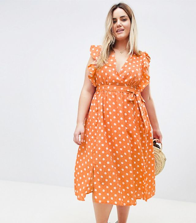 Glamorous Curve Sleeveless Midi Dress With Flutter Sleeves In Polka Dot