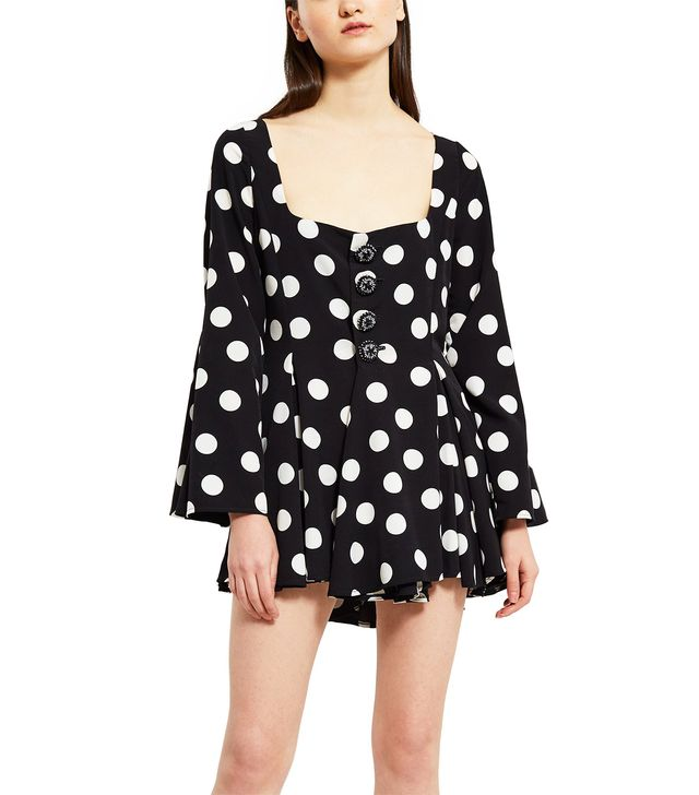 Palomo Polka-Dot Shirt Dress