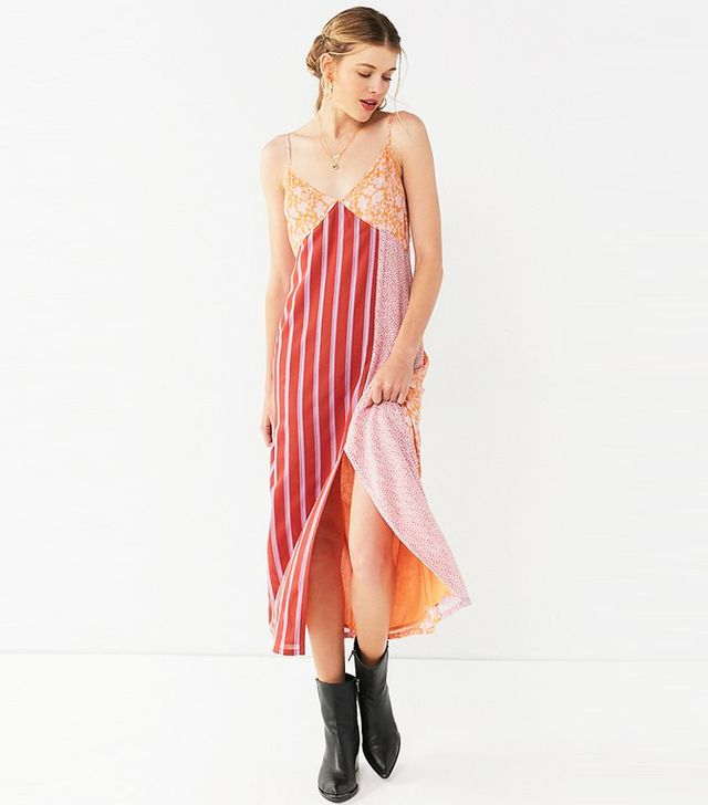 UO Ava High-Slit Midi Slip Dress