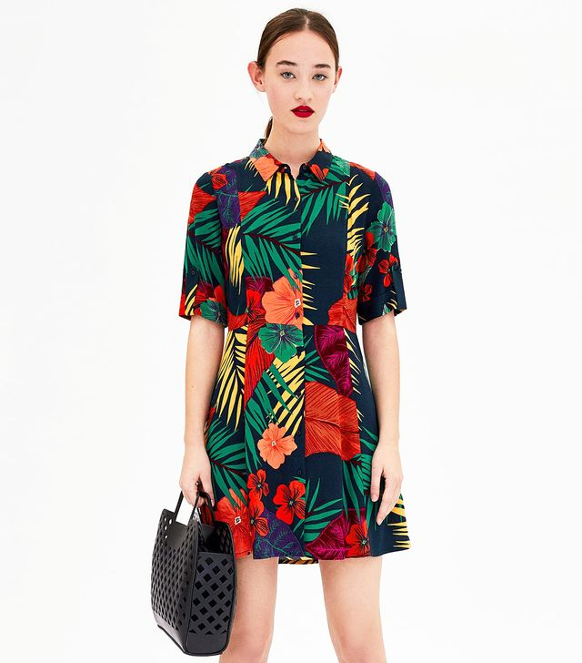 Zara Flower Shirt Dress
