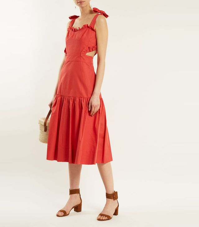 Cut-out cotton and linen-blend dress