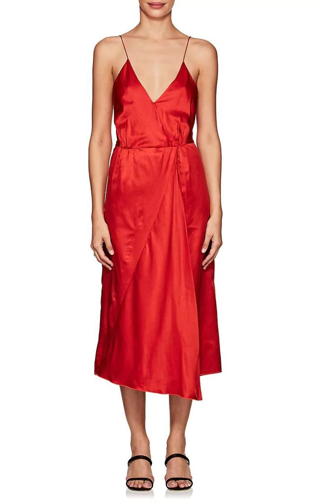 Women's Cotton-Silk Satin Tank Midi-Dress