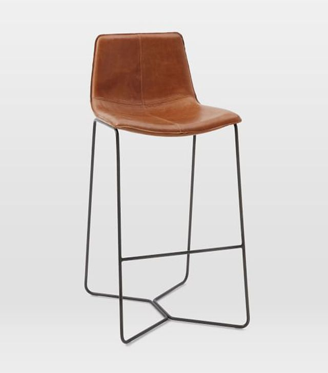 West Elm Slope Leather Bar and Counter Stools