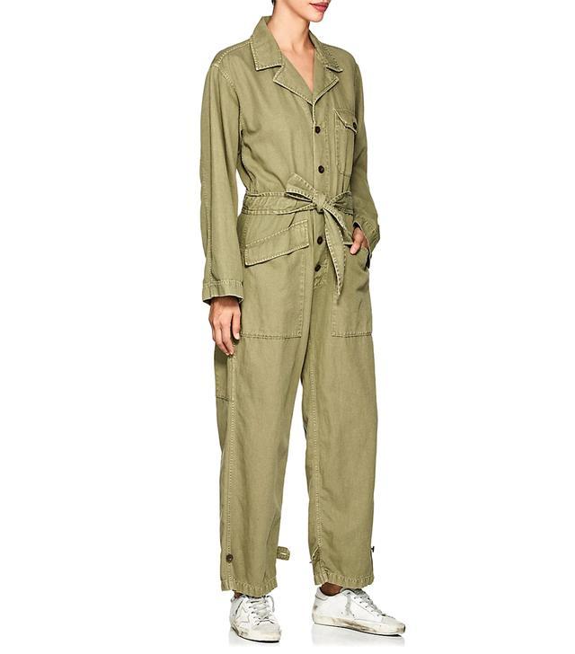 Women's Aria Cotton-Linen Belted Jumpsuit