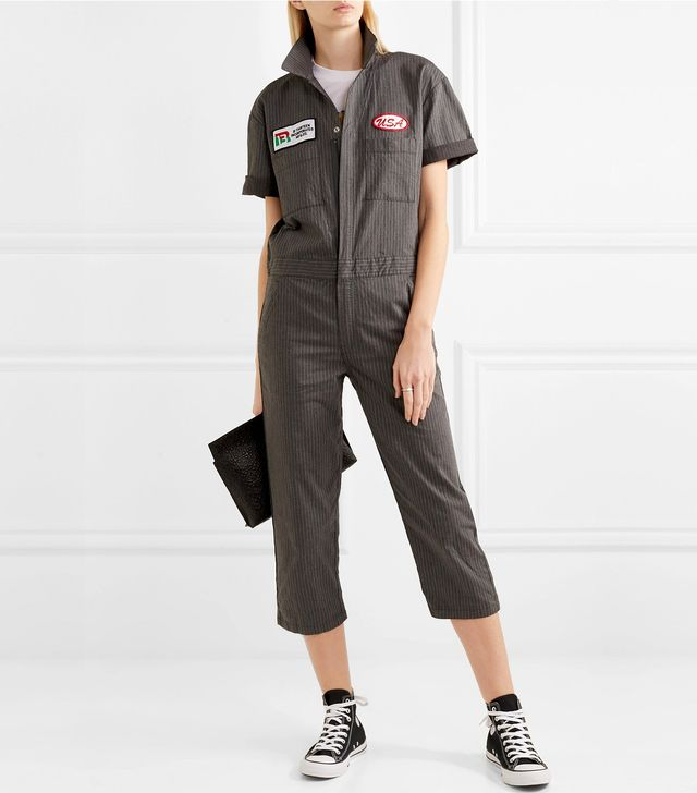 Appliquéd Pinstriped Cotton-blend Canvas Jumpsuit