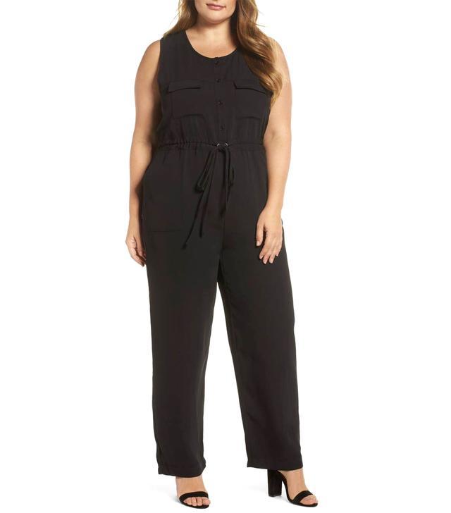 Plus Size Women's Glamorous Button Front Jumpsuit