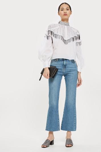MOTO Mid Blue Dree Cropped Jeans