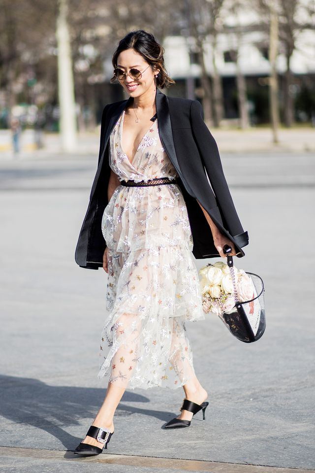<p>Try throwing a tuxedo jacket over a lace dress.</p>