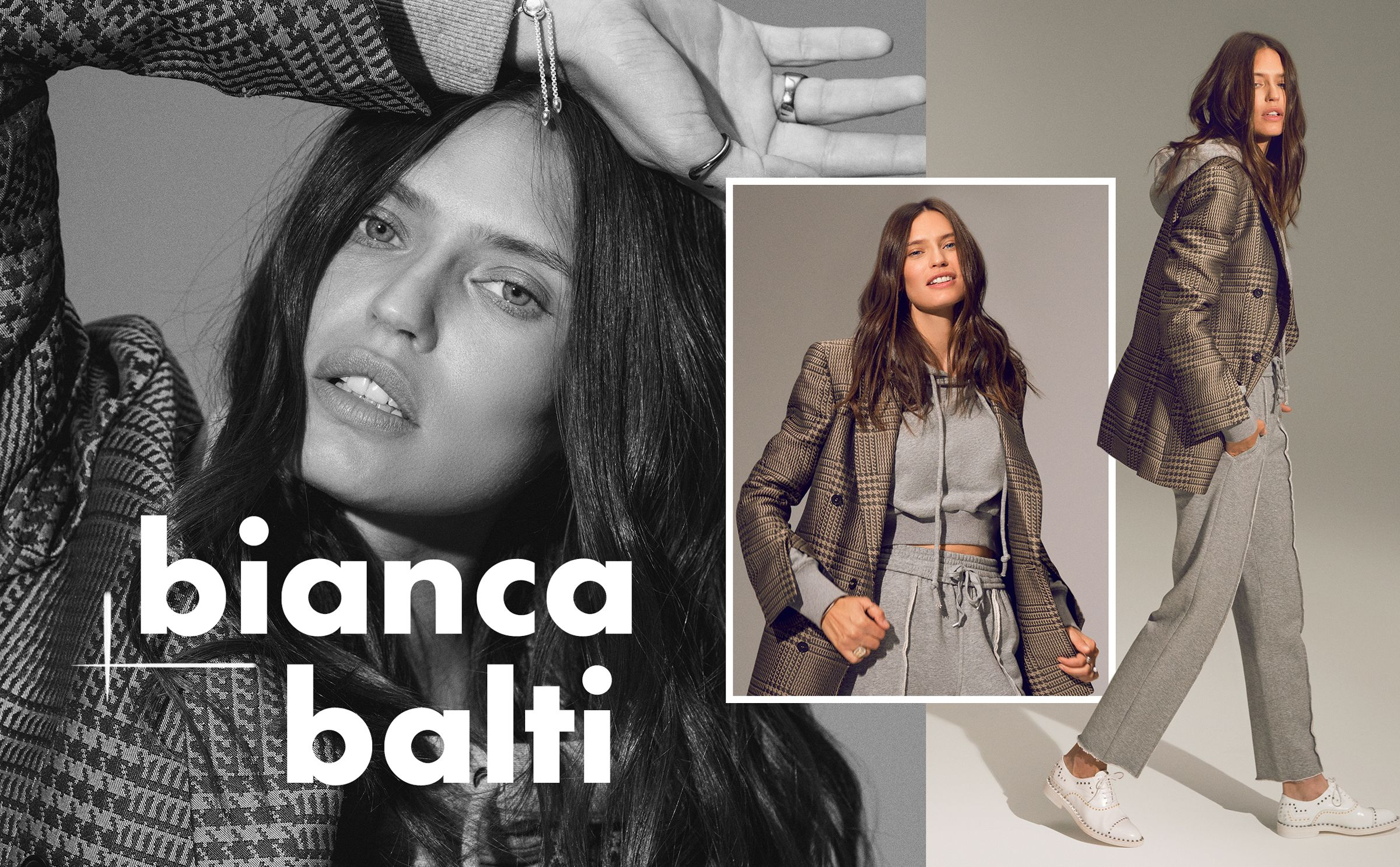 <p><strong>On Bianca Balti:</strong> Hope blazer; Kendall & Kylie top and pants; Zadig & Voltaire shoes; Amanda Pearl rings; Urban Outfitters ring; Monica Vinader bracelet and ring.</p>