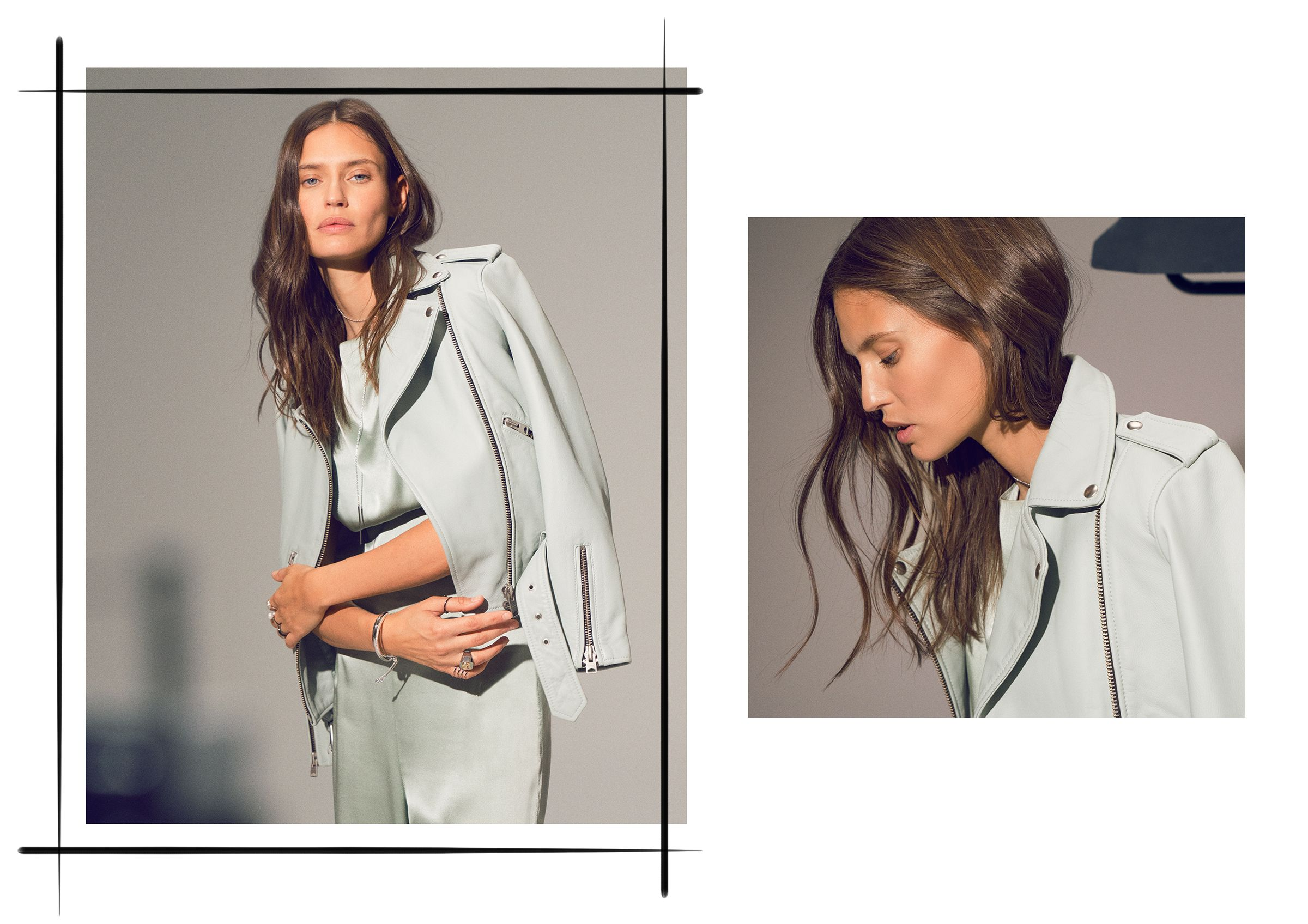 <p><strong>On Bianca Balti:</strong> All Saints leather jacket; Mola Walker top and pants; Amanda Pearl necklace, earrings, and rings; Urban Outfitters ring; Monica Vinader bracelet and ring; COS...