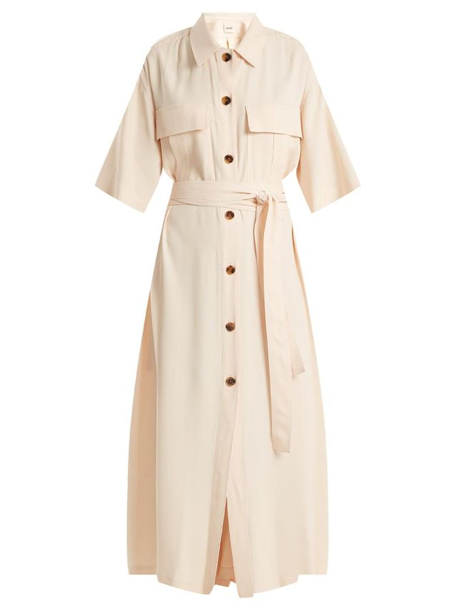 Leilani tie-waist button-down crepe dress