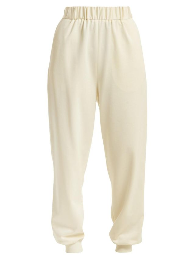 Sculpted elasticated-waist piqué trousers