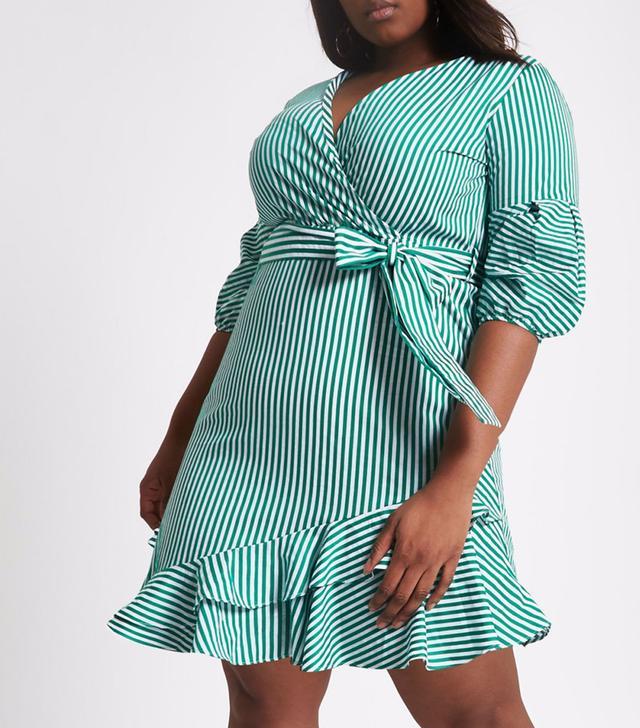 River Island Plus Green Stripe Wrap Puff Sleeve Dress