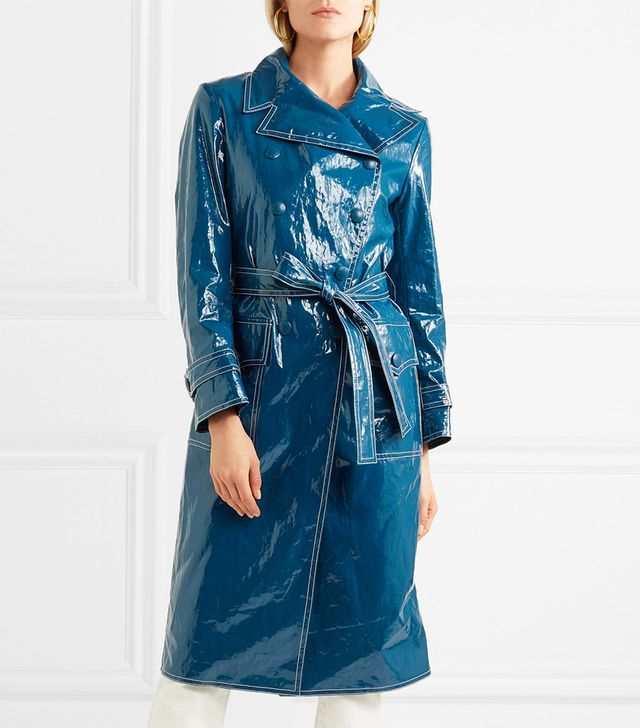 Belted Crinkled-Vinyl Trench Coat