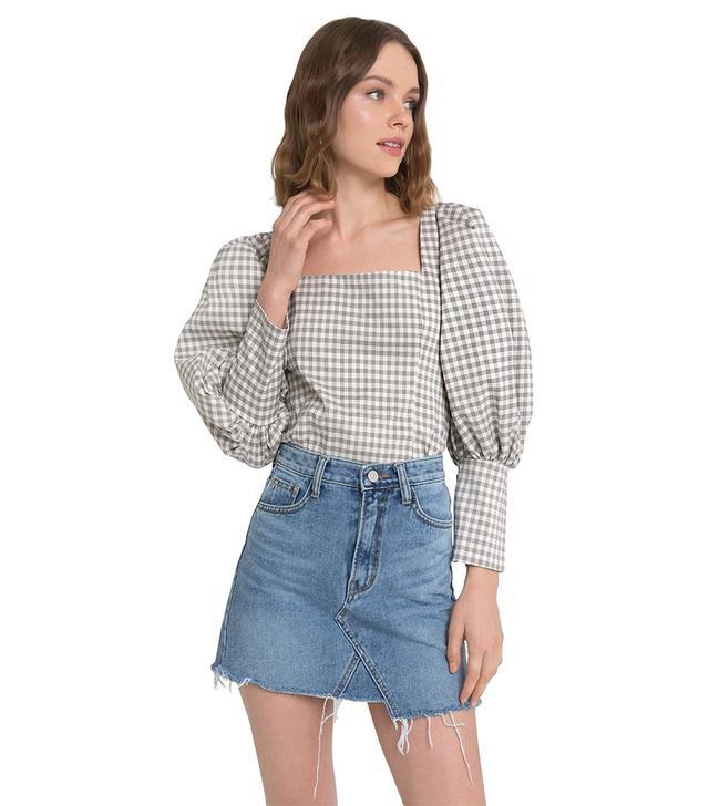 Pixie Market Eli Plaid Puffy Sleeve Button Shirt