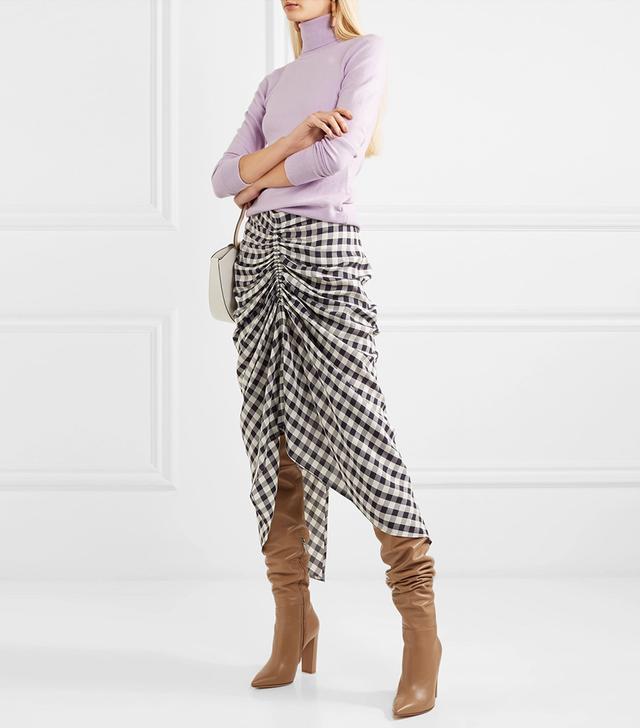 Roman Ruched Gingham Poplin Midi Skirt