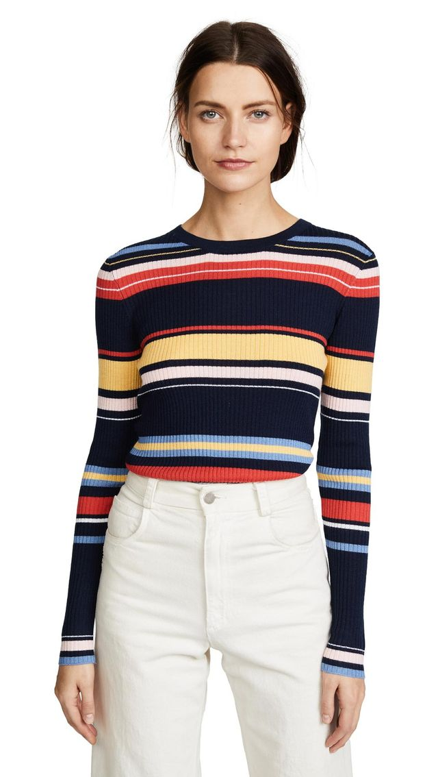 Panel Stripe Long Sleeve Top