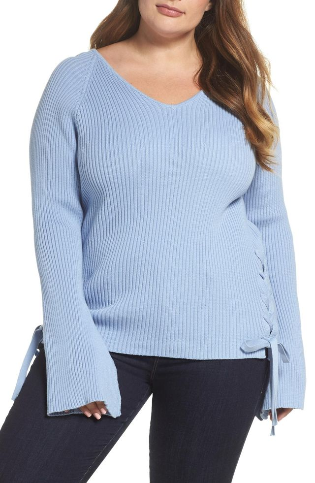 Bell Sleeve Lace-Up Sweater
