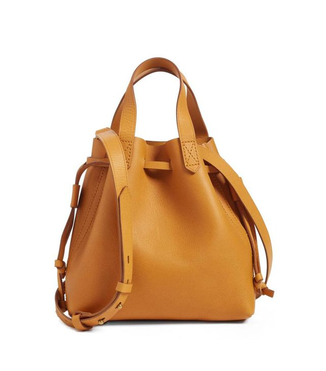 The Mini Pocket Transport Leather Drawstring Tote in Yellow