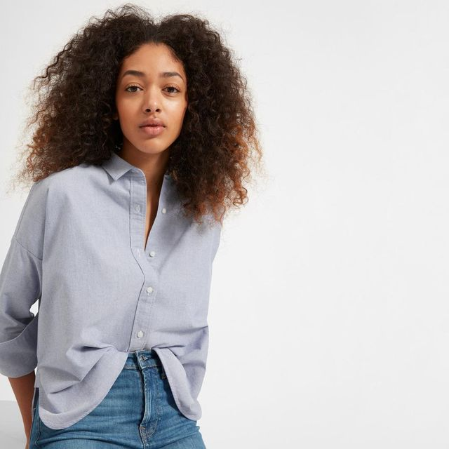 Japanese Oxford Square Shirt in Blue