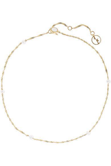 14-karat Gold Pearl Anklet