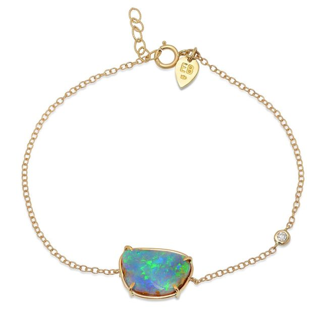 Elisabeth Bell Jewelry Opal Diamond Anklet