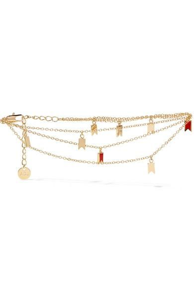 Lucky Gold-plated Enamel Anklet