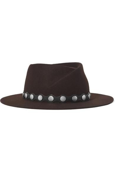 Edie Studded Leather-trimmed Wool Fedora